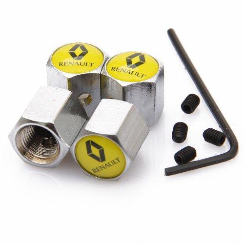 Yellow Renault Anti-theft Chrome Car Wheel Tire Valve Stem Caps