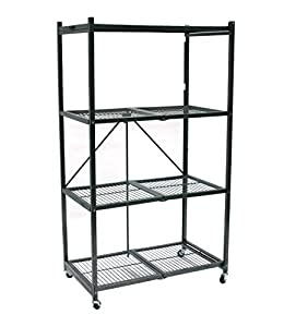 picture of Origami General Purpose Foldable 4-Shelf Storage Rack with Wheels, Large