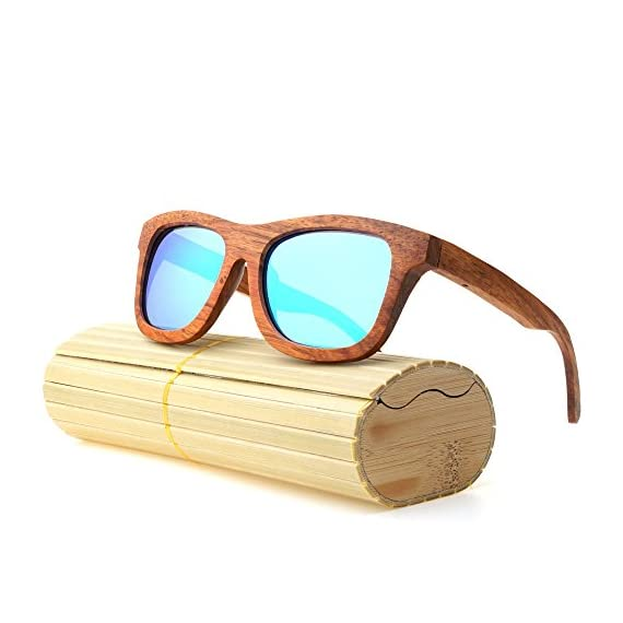 """MOTELAN Handmade Polarized Pear Wood Sunglasses Anti-glare Classic Wooden Glasses 1 HANDCRAFTED WOODEN SUNGLASSES- Each pair of sunglasses is unique and made from pear wood laminate with a natural wax coating. The sunglasses are lightweight and can float in the water. CR-39 POLARIZED LENSES - Our polarized lenses provides crystal clear vision and anti-glare with 100% UV400 protection, protect your eyes from the suns rays during explorations. CLASSIC NATURAL STYLE - Classic wayfarer style looks stylish on everyone. Frame size: 145mm front width x 143mm frame leg length x 49mm height (5.7"""" x 5.6"""" x 1.9""""). Nose bridge: 19mm (0.75""""). Lens size 52mm x 40mm (2.0"""" x 1.6"""")."""