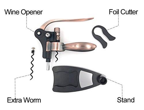 Wine Bottle Opener Set - Corkscrew Opener - Rabbit Wine Opener Kit - Foil Cutter - Stand - Extra Spiral - Easy Open Wine Bottle by NADIANO Wine Opener (Image #1)
