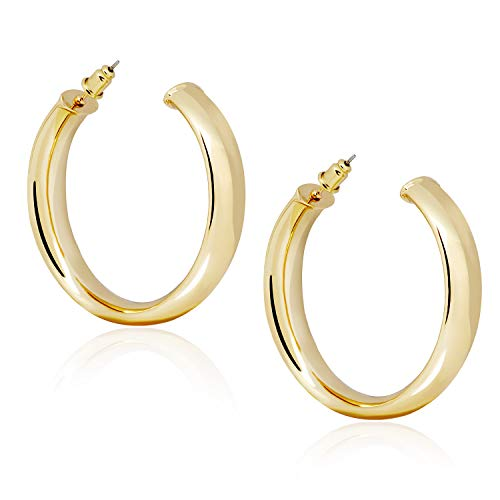 4k Gold Plated Lightweight Flat Pave Tube Large Hoop Earrings Hypoallergenic Gold Ear Hoops for Women Girls ()