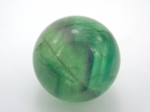 (jennysun2010 1 piece Natural Green Fluorite Gemstone Collectibles Round Ball Crystal Healing Sphere Finger Health Massage Rock Stones 30mm With Wood Stand)