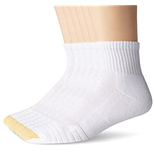 Gold Toe Men's Tech Quarter Socks (6 Pair Pack), White, Shoe Size: 6-12.5