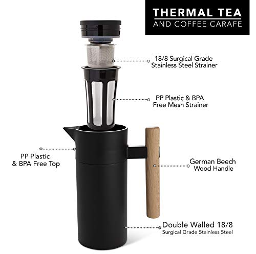 Stainless Steel Thermal Coffee Carafe - Double-Walled Vacuum Insulated Thermos and Beverage Pot - Compact, Travel-Size Strainer for Tea, Infused Drinks and Water - 40 Fl oz, Black by Hastings Collective (Image #2)
