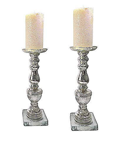 "- Mercury Glass Candle Holders with Glitter Wax Pillar Candles Set of Two 19""H"