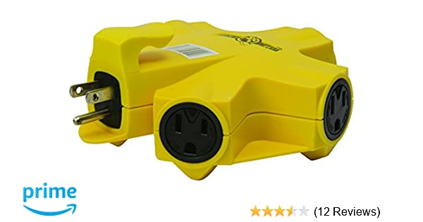 COLEMAN CABLE INC 997362 Five Outlet Adapter, 15-Amp, Yellow - Electrical Multi Outlets - Amazon.com