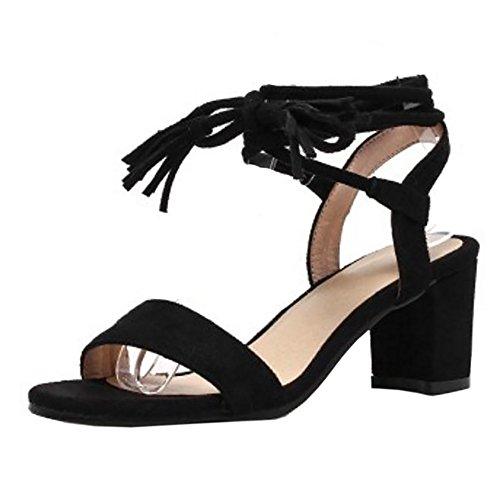 TAOFFEN Women Block Heel Sandals Shoes Black N4WcX4a