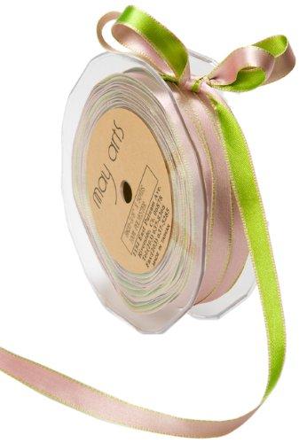 May Arts 3/8-Inch Wide Ribbon, Pink and Parrot Green Satin (Reversible Ribbon Satin Trim)