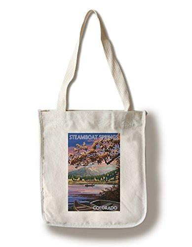 Steamboat Springs, Colorado - Twilight Lake Scene (100% Cotton Tote Bag - Reusable)