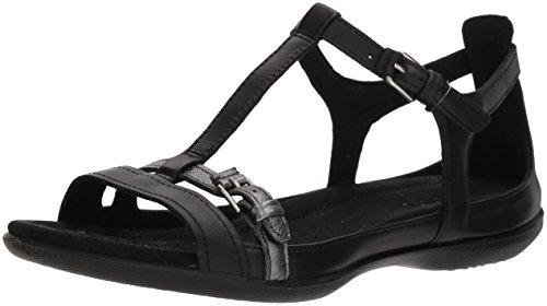ECCO Women's Flash T-Strap Sandal, Black/Dark Shadow, 39 M EU (8-8.5 US) ()