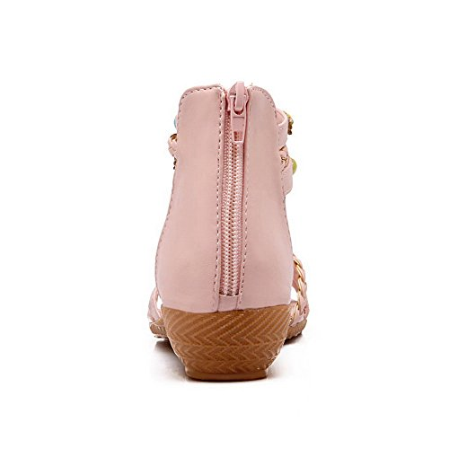 AalarDom Womens Zipper Open-Toe Low-Heels Pu Solid Sandals Pink GCiFVt