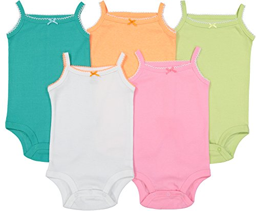 Beautiful Multi Colored (Cute Baby Sleeveless Bodysuits Beautiful Multicolored Onesies 5 pack (6 months))