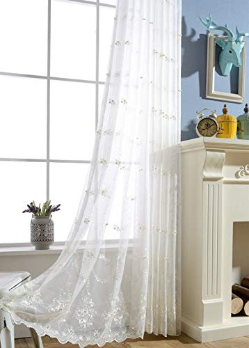 ZZCZZC 1 Set (2 Panels) Living Room Rod Pocket Tulle Curtains Floral Embroidered Sheer Curtain Panels Romantic Beaded Voile Drape European Luxury Lace Bay Window Dressing 39 inch Wide x 84 inch Long