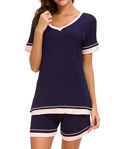 Dolay Sleepwear Women V-Neck Pajama Set Cotton Short Sleeve PJS Set (Navy, Large) by Dolay (Image #2)