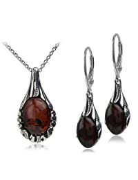 Sterling Silver Red Dark Amber Drop Set