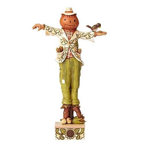 Department56 Enesco Jim Shore Heartwood Creek Scarecrow w/Pumpkin Head, Multicolor]()