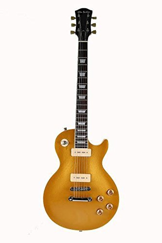 Directly Cheap 6 String Solid-Body Electric Guitar, Gold with 2 P90 Pickups (000-BT-GE320BCO-CBS+Lessons)