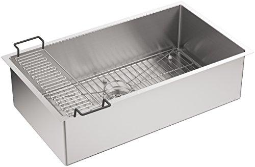 Bowl Kohler (KOHLER K-5285-NA Strive 32 X 18-1/4 X 9-5/16-Inch Under-Mount Single Bowl Kitchen Sink with Basin Rack, Stainless Steel, 1-Pack)