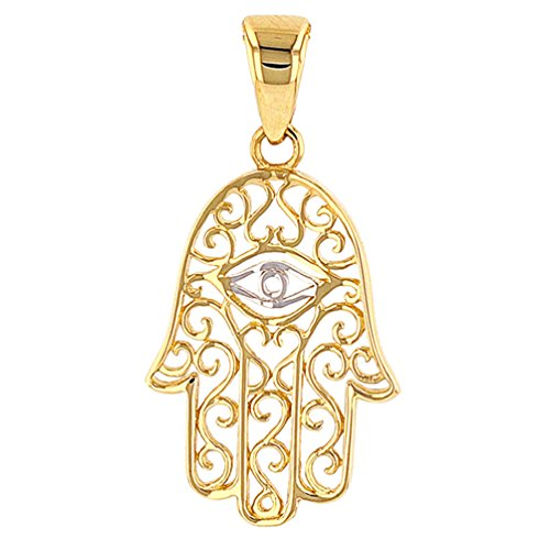 Jewelry America Solid 14K Gold Filigree Hamsa Hand of Fatima with Evil Eye Charm Pendant
