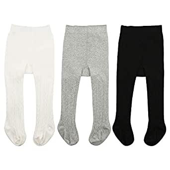 Zando   Baby Tights Soft Seamless Cable Knit Infant Tights for Baby Girls Leggings Stockings Toddler Warm Socks Newborn Winter Clothes 3 Pack - Ivory White, Black, Light Grey X-Large/2-4 Year