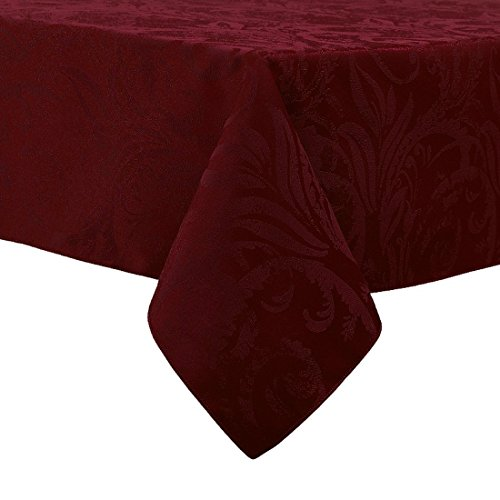 Autumn Wine Damask Scroll Holiday Tablecloth, 60-by-104 Inch Oblong Rectangular
