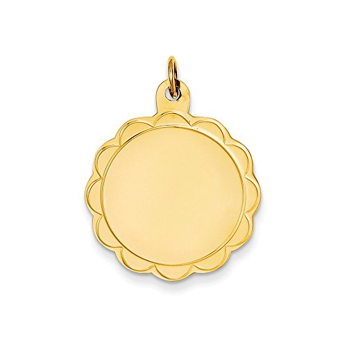 (Mireval 14k Yellow Gold .018 Gauge Engravable Scalloped Disc Charm (25 x 31 mm))