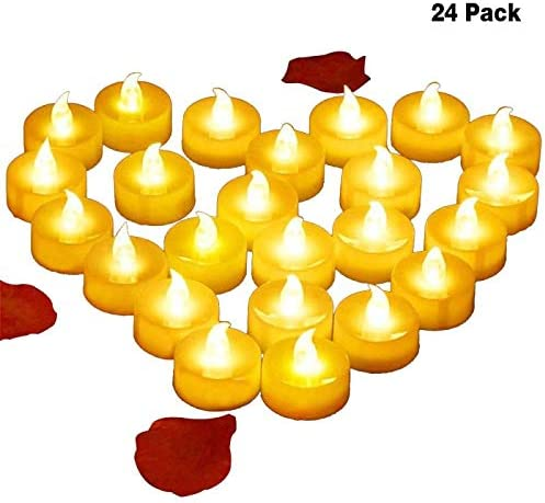 4Abby Realistic Bright Flameles LED Tea Light Candles, Bright, Flickering, Battery Powered Fake Candles, Tea Lights, Pack of 24