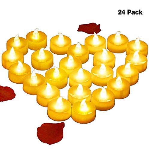 4Abby Realistic Bright Flameless LED Tea Light Candles, Bright, Flickering, Battery Powered Fake Candles, Unscented Tealights, Pack of 24
