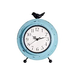 Ashton Sutton Table Clock with Aqua Finish Metal Case with Bird Perching