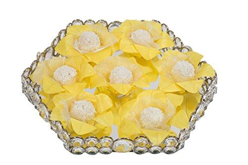 Wedding Chocolates Wrapper - Upscale Wedding Supplies - Luxury White Wedding Accessories Handmade Fabric Truffle Cups, Truffle Liners, Truffle Wrappers - Pack of 20 - Truffilio (Yellow) ()