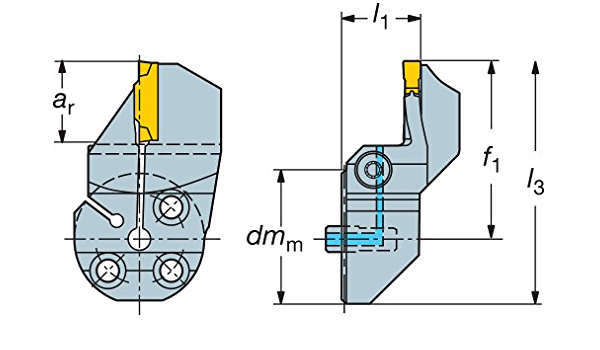 Sandvik Coromant 570-40R123K18B220A Steel CoroCut 41641 Head for Face Grooving Holder 0.71 Maximum Depth of Cut
