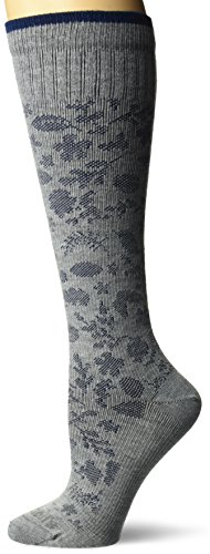 Dr. Scholl's Women's Travel Knee High Socks with Graduated Compression, Gray Paisely, Shoe Size: 4-10 ()