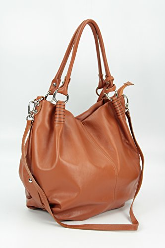 Belli - Bolso de tela de cuero para mujer marrón marrón