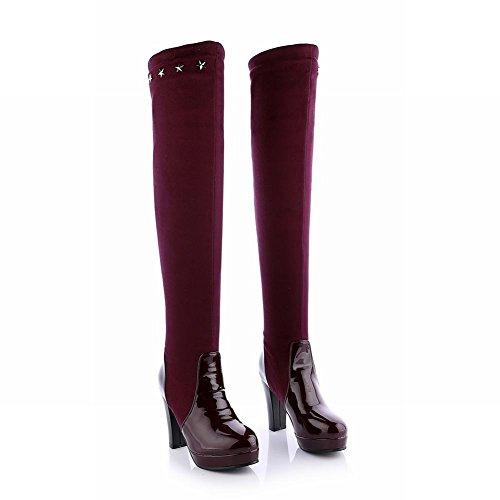 Carolbar Womens Chic A Forma Di Stella Borchiato Moda Piattaforma Tacco Alto Abito Alto Stivali Vino Rosso
