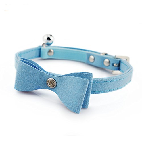 Laugh Cat Cute Bow Tie Collar With Bell For Cats Middle Size Adjustable Pu Leather Crystal Decoration (Blue) by Laugh Cat