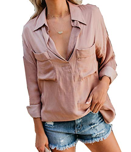 Umeko Womens Long Sleeve V Neck Shirts Front Pockets Collared Blouses Casual Oversized Boyfriend Tops