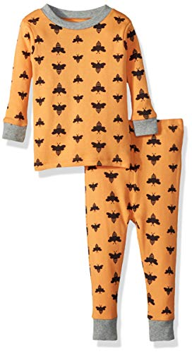 Burt's Bees Baby Unisex Baby Pajamas, 2-Piece PJ Set, 100% Organic Cotton (12 Mo-7 Yrs), Orange Bees, -