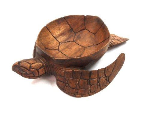 Hand Carved Mahogany Wood Nautical Turtle Bowl ()