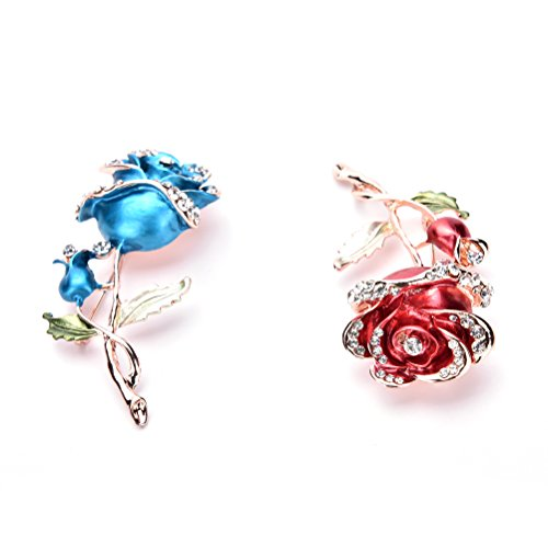 Haodeba 2 Pieces Vintage Elegant Rhinestone Blue and Red Roses Flower Brooch Pin Santa Claus Gift Party (Flowers Red Hat Gift Bag)