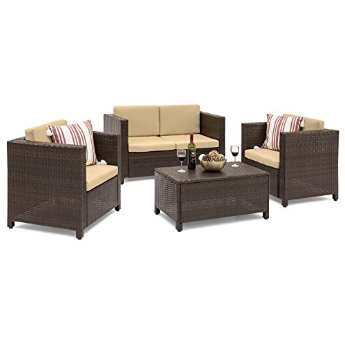 Best Choice Products 4-Piece Wicker Sofa Set w/Cushions (Brown)