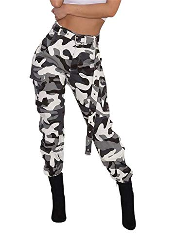Women's Casual Camo High Waisted Skinny Long Pants Stretch Slim Fit Leggings with Belt Plus Size (Camoflauge Belt)