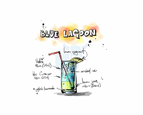 Painting Drawing Alcohol Cocktail Recipe Blue Lagoon Poster Print