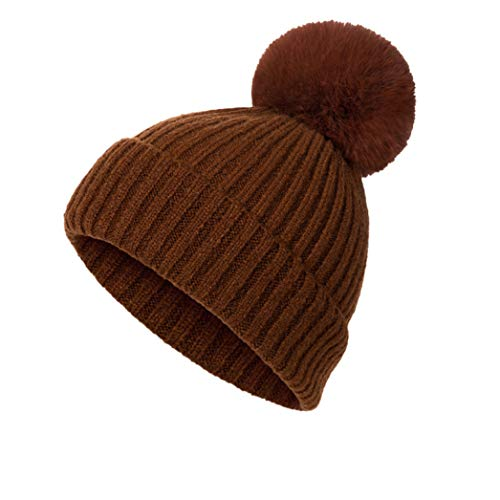 TRESOMI Solid Color Warm Cuffed Skull Beanies Hats Women's Comfortable Cotton Knitting Skiing Bonnets