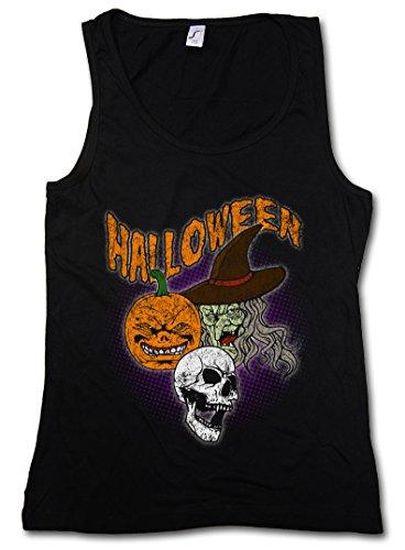 Urban Backwoods Halloween Faces Women Tank Top Gym Fitness Training Shirt Black ()