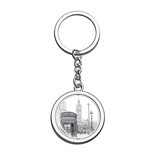 UK London Telephone Booth Sketch Keychain 3D Crystal Spinning Round Stainless Steel Keychains Travel City Souvenirs Key Chain Ring]()