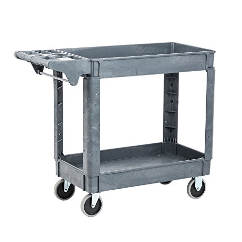 - Pearington Utility Rolling Cart- Multi Purpose, Heavy Duty Service Cart; Supplies Storage and Organizer; 2 Tier with Wheels- 500lb Loading Capacity, Gray