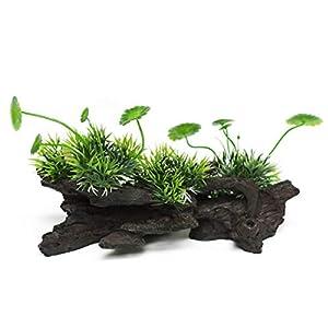 "Yizhi Miaow Resin Driftwood Aquarium Decorative Ornament 8"", Aquarium Decorations with Artificial Green Plants for Medium and Large Tank 69"