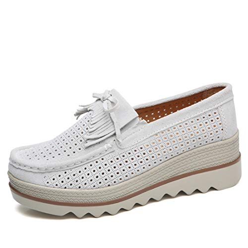 Ruiatoo Women Platform Slip On Loafers Comfort Genuine Suede with Tassel Hollow Out Low Top Moccasins Off-White 39