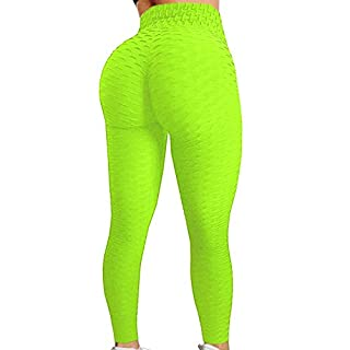 HURMES Women's High Waist Ruched Butt Lifting Booty Scrunch Anti Cellulite Workout Leggings Tummy Control Push Up Honeycomb Textured Tights Neon Yellow