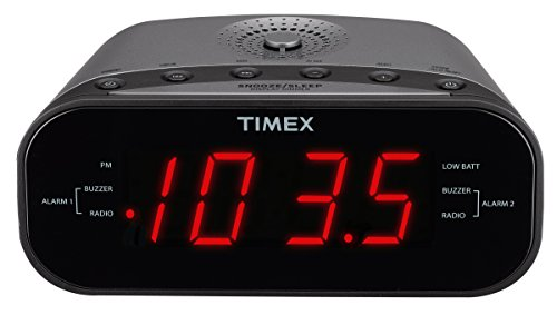 Timex T231GY AM/FM Dual Alarm Clock Radio with 1.2-Inch Red Display and Line-In Jack (Gunmetal) (Radio Timex Clock)